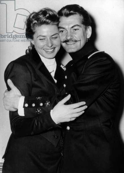 Ingrid Bergman and Jean Marais on Set of Film Elena and her Men 1955 (b/w photo)