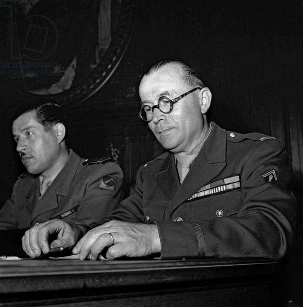 Trial of Otto Abetz, Paris, July 12, 1949 : the capitaine Goulemob and the lieutenant Menard (b/w photo)