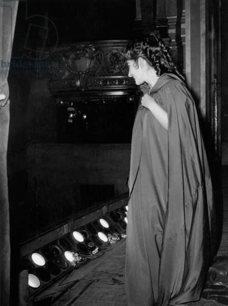 Maria Callas during Performance of Opera Tosca at Paris Opera House February 20, 1965 (b/w photo)