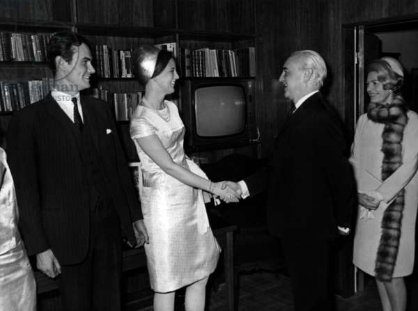 On R : Herve Alphand, French Secretary of State To Foreign Affairs, and his Wife Welcoming Princess Margrethe of Denmark (Future Queen Margrethe Ii) and her Fiance Prince Henrik (Henri De Laborde De Monpezat) at Opening of New Embassy of Denmark in Paris February 13, 1967 (b/w photo)
