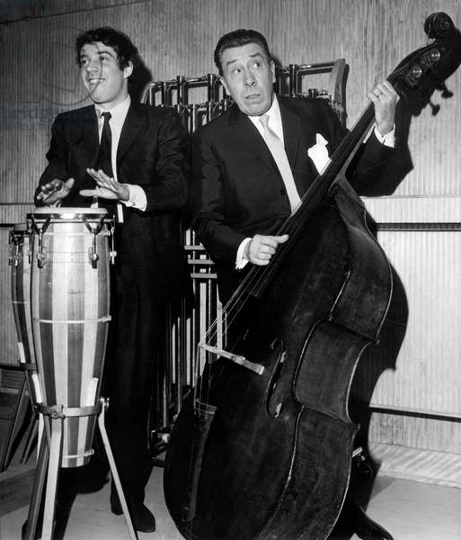 French Actors at Double Bass and Tomtom Drum Have A Jam After Radio Session March 15, 1968 (b/w photo)
