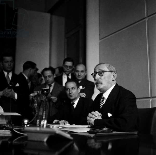 Leon Blum Giving A Press Conference, Paris, March 31, 1946 (b/w photo)