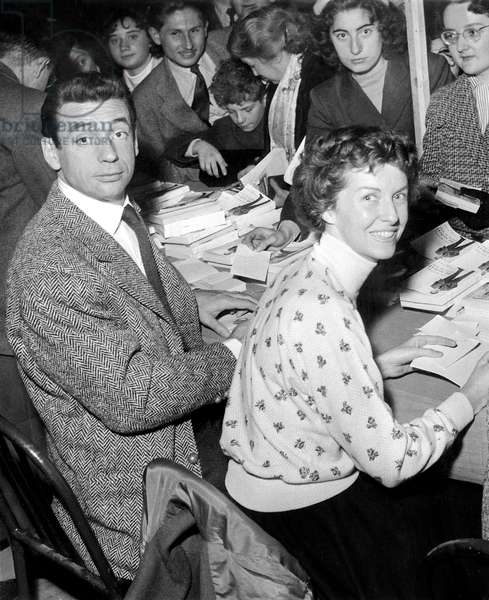 Yves Montand and Betsy Blair at Book Festival, 1955 (b/w photo)