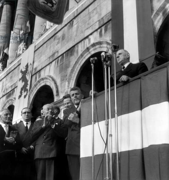 French President Charles De Gaulle during A Speech in Arras, France in Presence of Paul Reynaud and Robert Buron, September 26, 1959 (b/w photo)