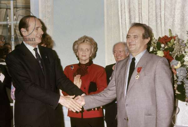 French Chef Paul Bocuse Made Officer of Legion Oh Honour By Jacques Chirac February 1987 (photo)