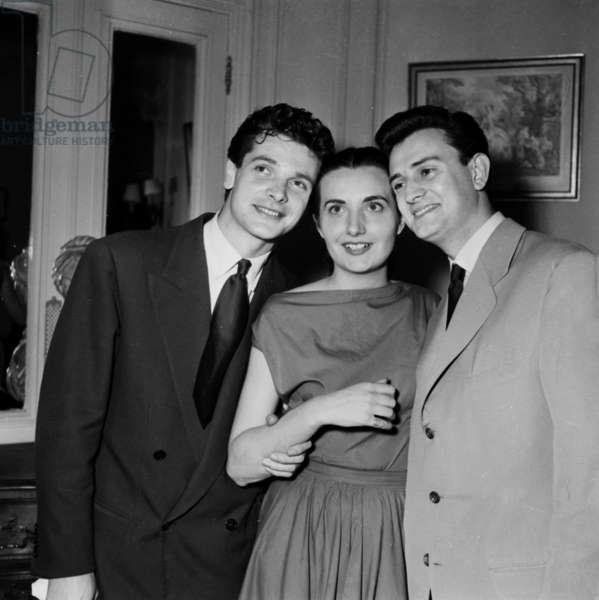 French Actors Georges Descrieres, Madeleine Marion and Paul Guers at Drama Contest, June 29, 1953 (b/w photo)