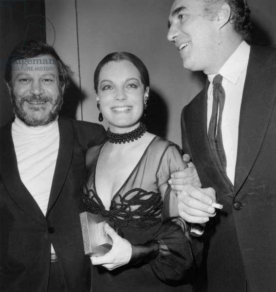 "Singer Bobby Lapointe With Romy Schneider and Michel Piccoli at Premiere of Film ""Les Choses De La Vie"" in Paris March 12, 1970 (b/w photo)"
