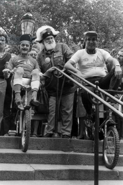 "The ""Fete D'Automne De Montmartre"", Paris, September 23, 1982 : Sim, Jean Pierre Foucault Before Cycling in The Stairs of Montmartre (b/w photo)"