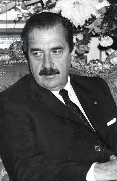 Raul Alfonsin (1927-2009) Argentinian President in 1983-1989, here in Paris on September 19, 1985 (b/w photo)