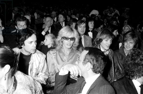 Amanda Lear and her Husband Alain Philippe Malagnac D'Argens De Villele at Premiere of -Dalida in Paris, January 10, 1980 ; on R : Singer Dave, Behind : Yves Lecoq (b/w photo)