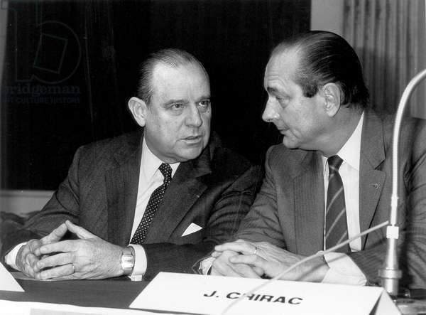 Raymond Barre and Jacques Chirac, Mayor of Paris, December 6, 1984 (b/w photo)