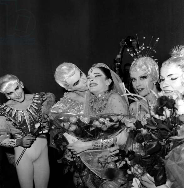 Geraldine Chaplin Congratulated By Dancer Viktor Rona, With Pedro Gusto (L), Soviet Dancers Tessa Beaumont and Galina Samsova After Performing Ballet
