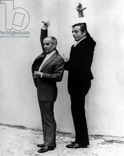 "Louis De Funes, Yves Montand during A Rehearsal of Film ""Delusions of Grandeur"" on April 6, 1971 (b/w photo)"