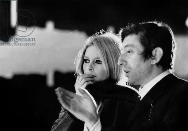 Brigitte Bardot and Serge Gainsbourg on Set of Jour De L' An December 22, 1967 (b/w photo)