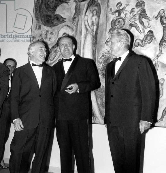 French Minister of Culture Malraux and Painter Chagall at Launching of Maeght Foundation Jul 30, 1964 (b/w photo)