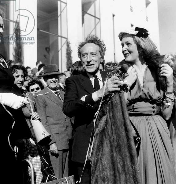 Jean Cocteau President of Jury With American Artist Arlene Dahl at Cannes Film Festival April 3, 1954 Cinema (b/w photo)
