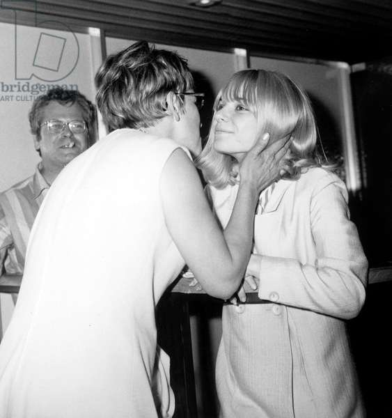 France Gall , Back From Tour in Japan, Greeted By her Mother at Paris Airport June 23, 1966 (b/w photo)