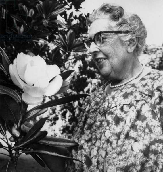 English Novelist Agatha Christie (1891-1976) September 2, 1959 (b/w photo)