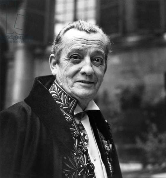 French Writer Marcel Pagnol at The Cademie Francaise, Paris, November 9, 1967 (b/w photo)