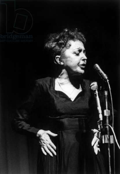 French Singer Edith Piaf on Stage at The Olympia, Paris, September 28, 1962 (b/w photo)