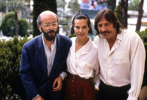 "French Director Bertrand Blier With Actors Carole Bouquet and Gerard Depardieu at Cannes Festival, May 17, 1989 (For Film ""Too Beautiful For You"") (photo)"