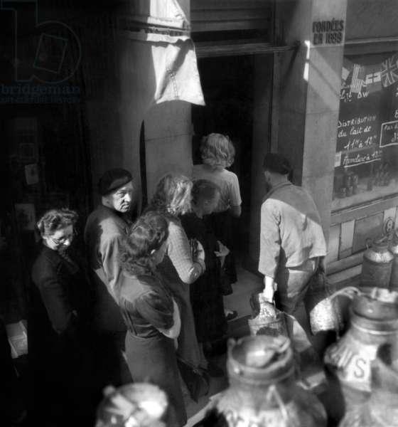 Milk Sale in Shops in Paris in April 1946 (b/w photo)