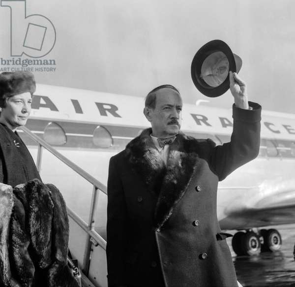 French writer Saint John Perse (Alexis Leger) at Orly airport, Paris, leaving Paris for Stockholm (for Nobel Prize), December 7, 1960 (b/w photo)