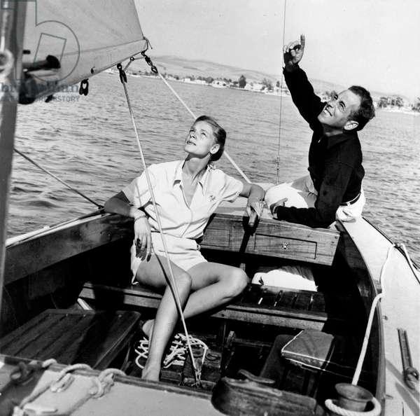 Lauren Bacall and Humphrey Bogart on The Sailboat