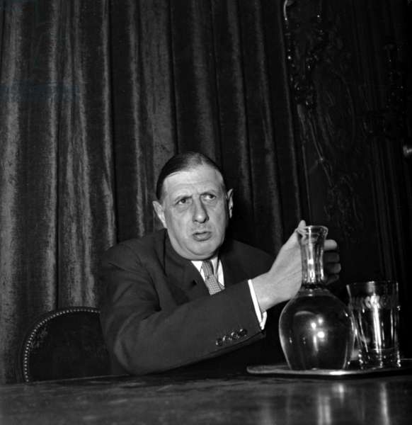 Charles De Gaulle, Leader of The Rpf, during A Press Conference October 1, 1948 in Paris (b/w photo)
