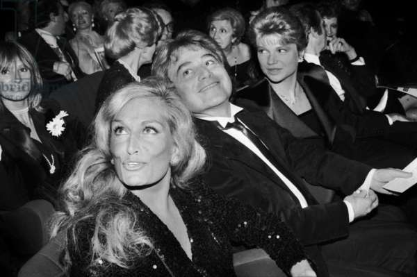 Singer Dalida With her Brother and Producer Orlando at The Premiere of Tinorossi in Paris in 1982 (b/w photo)
