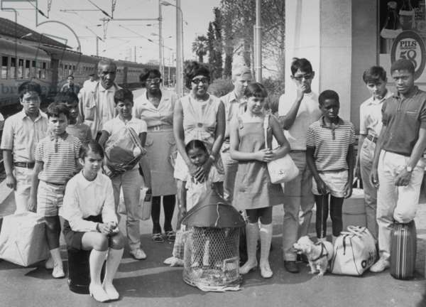 Josephine Baker and her 12 Adopted Chidren at Monaco Station With her Sister and her Brother-In-Law on July 25, 1969 (b/w photo)