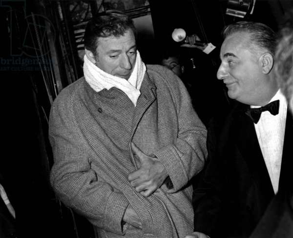 Singer Yves Montand After Rehearsal of his One Man Show here in The Backstage With Bruno Coquatrix Manager of Olympia September 20, 1968 (b/w photo)