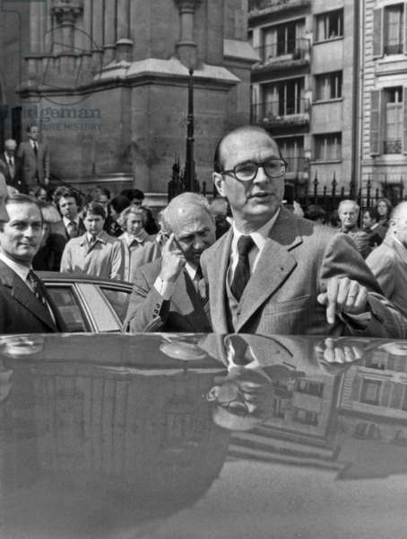 Jacques Chirac, Mayor of Paris, After Funeral of Aymeric Simon-Loriere April 26, 1977 (b/w photo)