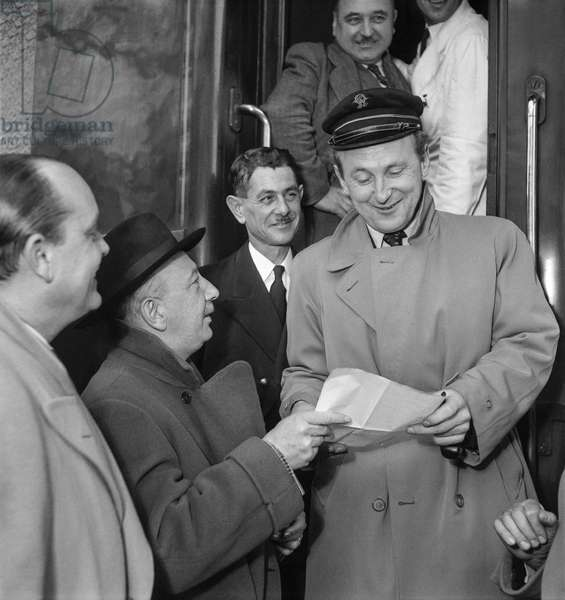 French actor Bourvil, Paris, December 21, 1949 (b/w photo)