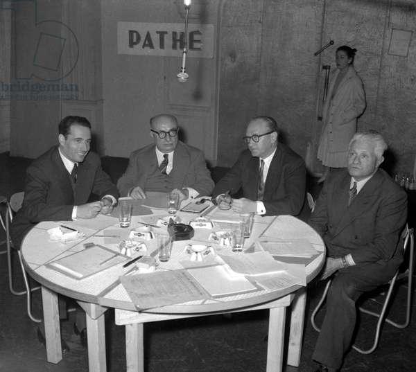 Mitterrand, Duclos, Mollet and Laffargue, 1955 (b/w photo)