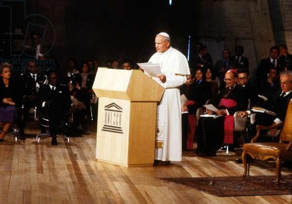 Pope John Paul Ii at Unesco, Paris, June 2, 1980 (photo)