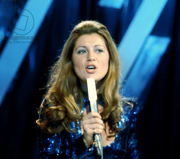 French Singer Sheila during TV program in April 1974 (photo)
