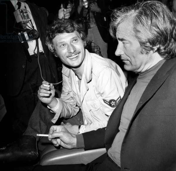 Johnny Hallyday and Paul Gegauff at Premiere of Film