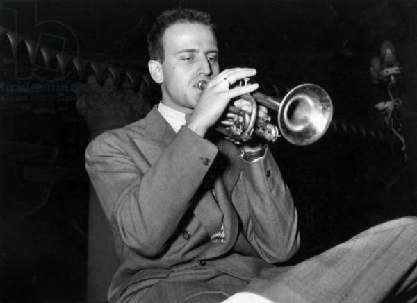 French Poet and Trumpet Jazzman Boris Vian (1920-1959) during Jazz Festival in Paris May 04, 1949 (b/w photo)