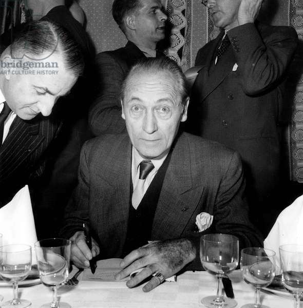 French Writer and Scriptwriter Maurice Dekobra at Movie Price in Paris November 27, 1951 (b/w photo)