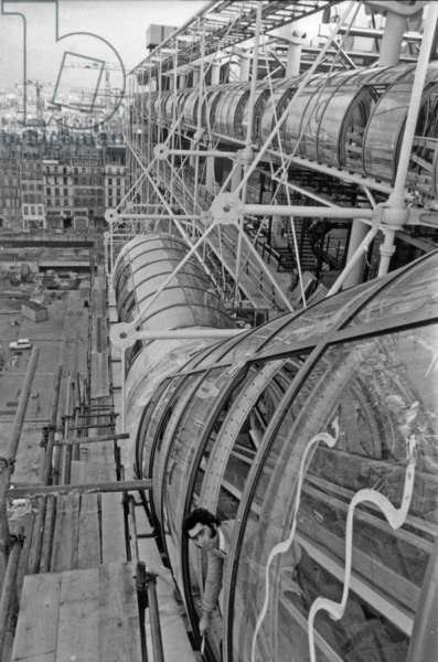 Building of Georges Pompidou Centre in Paris November 26, 1976 (b/w photo)