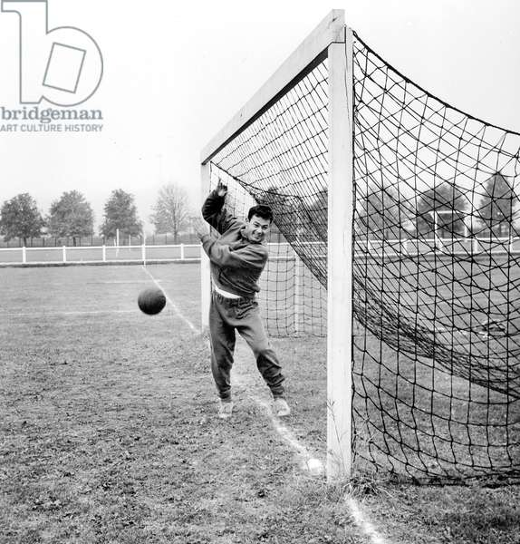 Juste Fontaine Footballer of France Soccer Team Training Before Match-Between France Soccer Team and Germany Soccer Team in Colombes , here October 24, 1958 (b/w photo)