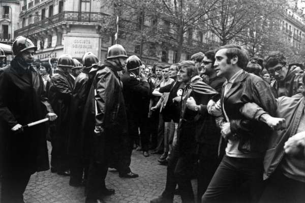 Demonstration in Paris on May 6, 1968 : Demonstrators Against Members of Riot Squads (b/w photo)