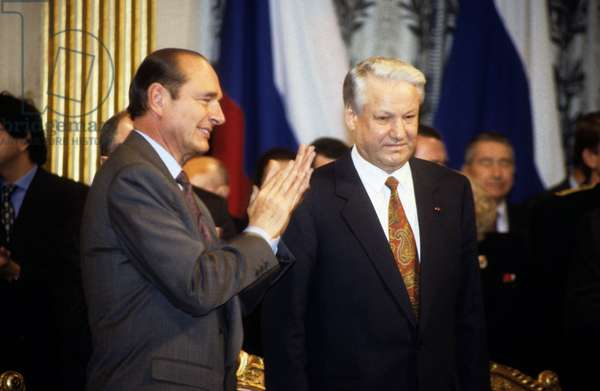 Jacques Chirac Leader of Rpr and Mayor of Paris With Russian President Boris Eltsine 1992 (photo)
