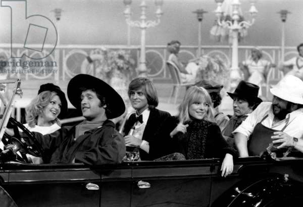 Joe Dassin With Jane Manson, Dave, France Gall and Carlos during TV Programme May 31, 1977 (b/w photo)