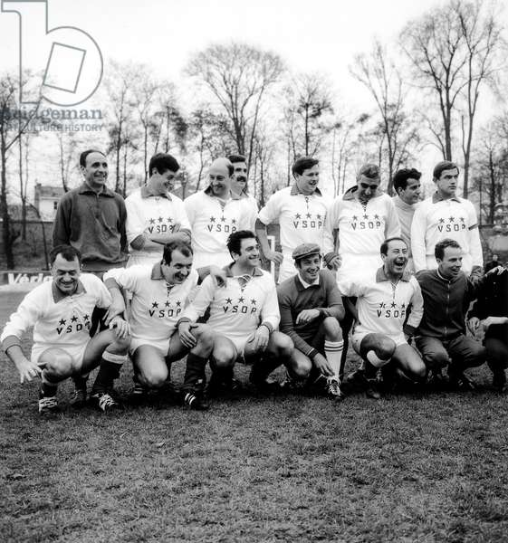 Jean Paul Belmondo French Actor (Center) in Football Team With Jounalists and Others Actors (b/w photo)