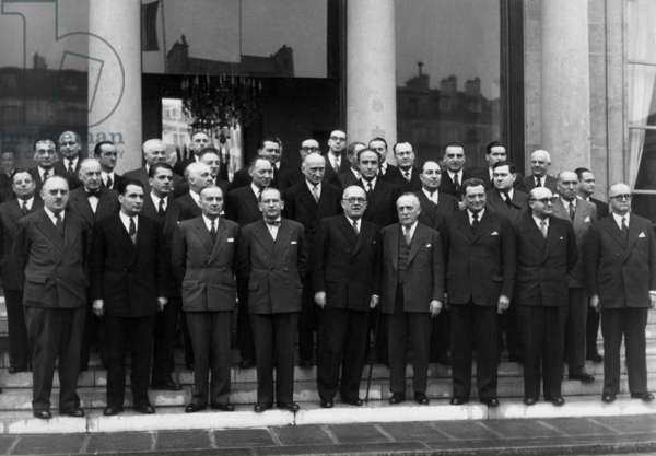 The Ministry of Edgar Faure ( Council President and Finance Minister), at The Elysee Palace in Paris, January 20, 1952 (b/w photo)