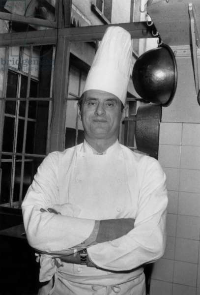 French Chef Paul Bocuse Is Chef at Elysee Palace Just For One Evening, February 25, 1975 (b/w photo)