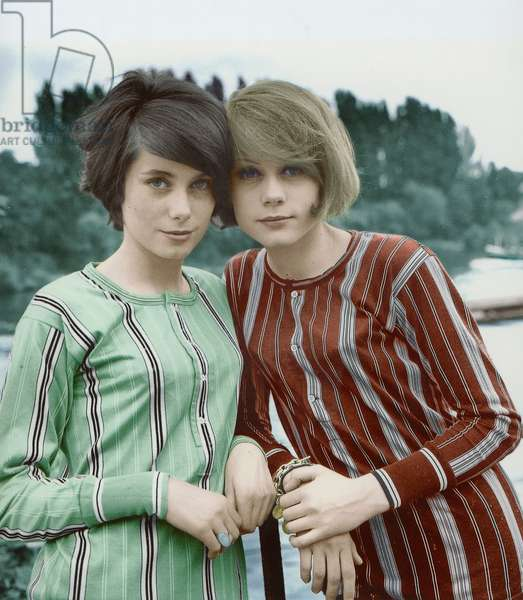 French Actresses Catherine Deneuve and Francoise Dorleac (Sisters) May 27, 1960 (photo)