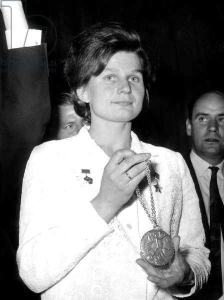 First Cosmonaut Woman Valentina Tereshkova Received The Medal of The Galabert Prize of Astronautics in Paris May 13, 1965 (b/w photo)
